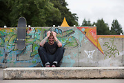British freestyle snowboard coach Jack Shackleton at Saughton Skatepark on 27th June 2017 in Edinburgh, United Kingdom.