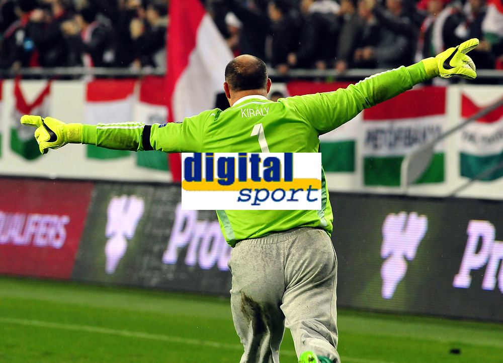Fotball EM playoff 2015  15.11.2015 <br /> Hungary vs Norway<br /> <br /> Resultat <br /> <br /> Hungary keeper Gabor Kiraly jubel<br /> <br /> Norway <br /> <br /> <br /> Foto: Robert Christensen Digitalsport