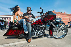 Angela Renner and Krazy J Kiefer during the annual Black Hills Motorcycle Rally. Sturgis, SD, USA. August 8, 2014.  Photography ©2014 Michael Lichter., 2014.