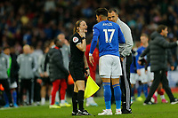 Football - 2019 / 2020 Premier League - Liverpool vs. Newcastle United<br /> <br /> Assistant referee Sian Massey-Eellis talks to Ayoze Perez of Leicester City after he confronts Liverpool players in the penalty area after the final whistle, at Anfield.<br /> <br /> COLORSPORT/ALAN MARTIN