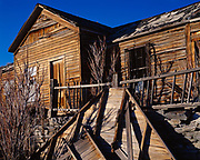 Frame building in the ghost town of Belmont which for twenty years beginning in the 1860s was a silver mining boom town, Toquima Range, Nevada.