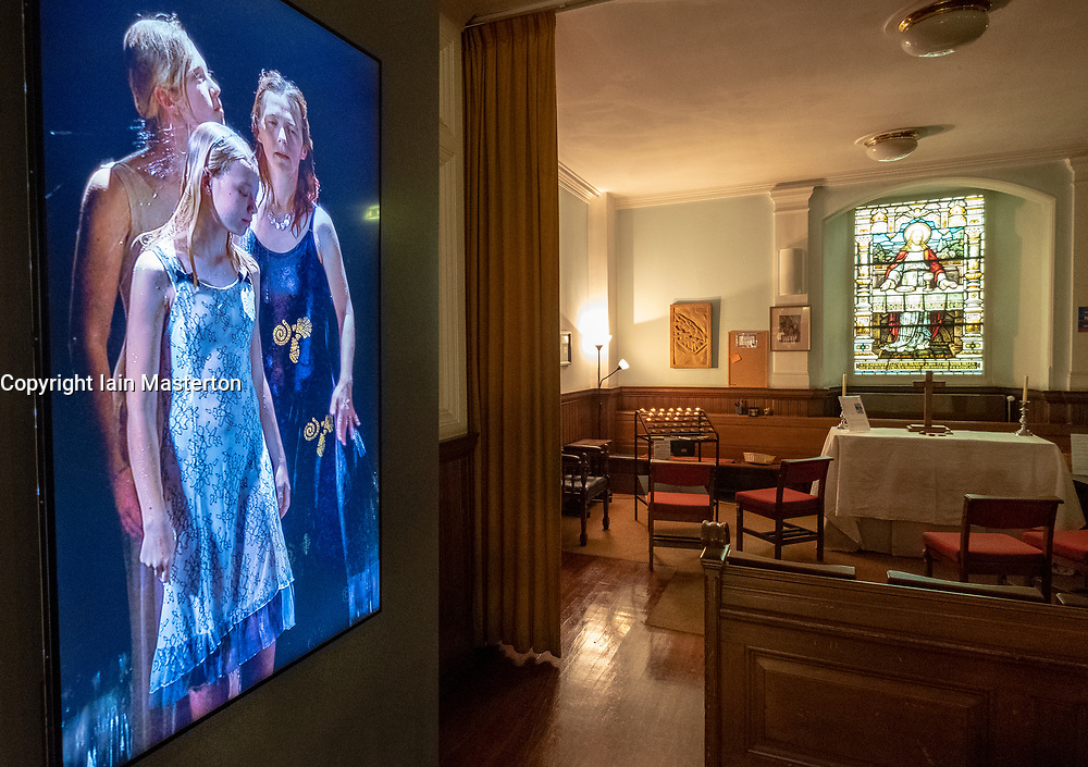 """22 May, 2018. Edinburgh, Scotland, UK. Video installation """"Three Women"""" by Bill Viola at St. Cuthbert's Parish Church in Edinburgh. Although on display since 1 May, the display has not been publicised until this week."""