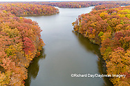 63895-16617 Aerial view Stephen A. Forbes State Park Lake in fall Marion Co. IL