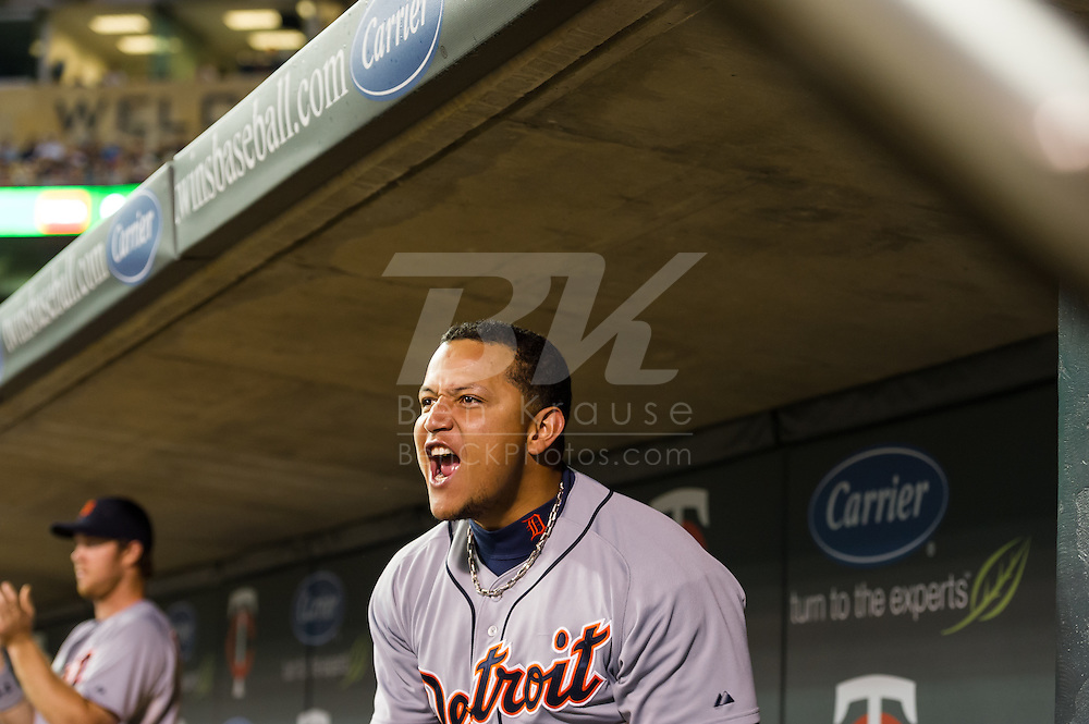 Miguel Cabrera (24) of the Detroit Tigers celebrates after teammate Andy Dirks (12) hit a home run during the sixth inning against the Minnesota Twins on August 14, 2012 at Target Field in Minneapolis, Minnesota.  The Tigers defeated the Twins 8 to 4.  Photo: Ben Krause
