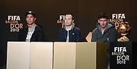 Fotball<br /> 07.01.2013<br /> Foto: imago/Digitalsport<br /> NORWAY ONLY<br /> <br /> Fussball International FIFA Ballon d Or / Weltfussballer 2012 PK 07.01.2013 Cristiano Ronaldo (Portugal), Andres Iniesta (Spanien) und Lionel Messi (v.li, Argentinien)
