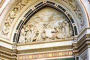 Facade detail, Basilica di Santa Croce, Florence, Tuscany, Italy