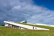 Visitors at Danish modern architecture - MOMU Moesgaard Museum, Hojbjerg, Denmark