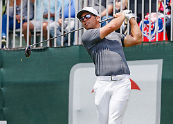 June 24, 2018 - Cromwell, CT, U.S. - CROMWELL, CT - JUNE 24: Paul Casey of England tees off on 1 during the Final Round of the Travelers Championship on June 24, 2018 at TPC River Highlands in Cromwell, CT (Photo by Joshua Sarner/Icon Sportswire) (Credit Image: © Joshua Sarner/Icon SMI via ZUMA Press)