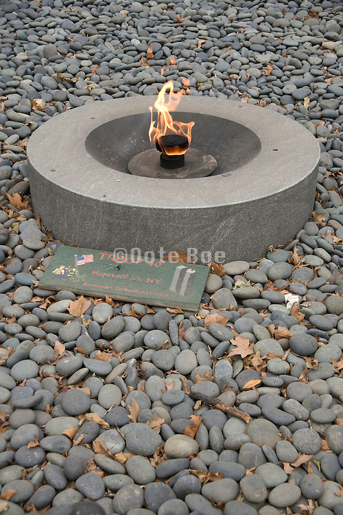 eternal flame in memory of the victims of September 11 2001 in Battery Park New York city