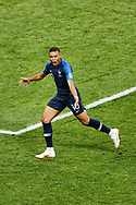 France forwarder Kylian Mbappe celebrating the 4-1 he scored during the 2018 FIFA World Cup Russia, final football match between France and Croatia on July 15, 2018 at Luzhniki Stadium in Moscow, Russia - Photo Stanley Gontha / Proshots / ProSportsImages / DPPI