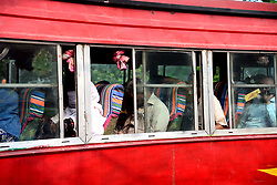 May 13, 2019 - Dhaka, Bangladesh - Bangladeshi commuters sit in traffic jam along a main road in Dhaka, Bangladesh, on May 13, 2019. Traffic jams become even worse in congested Dhaka during Ramadan as office hours are changed so workers can get home early and break their fast. (Credit Image: © Str/NurPhoto via ZUMA Press)