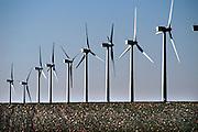 Spanje, Aragon, 10-2-2005..Windmolens, windmolenpark in het sroomgebied van de rivier de Ebro, waar altijd veel wind staat. Windenergie, alternatieve, schone energie, klimaatverandering, milieu, klimaatverdrag Kyoto, co2 uitstoot..Foto: Flip Franssen/Hollandse Hoogte
