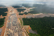 Aeriel view over the construction site of the Belo Monte hydroelectric dam, the largest infrastructure project in Brazil and one of the biggest in the World. Greenpeace Brazil use a light aircraft to investigate deforestation from logging and the Belo Monte Hydroelectric dam, Altamira, Para, Brazil.