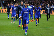 Cardiff City players led by Cardiff City defender Joe Bennett (3) leave the pitch after the EFL Sky Bet Championship match between Hull City and Cardiff City at the KCOM Stadium, Kingston upon Hull, England on 28 April 2018. Picture by Mick Atkins.