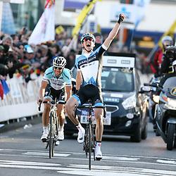 Sportfoto archief 2012<br /> BELGIUM / GENT / CYCLING / WIELRENNEN / CYCLISME / BELGIUM / KLASSIEKER / FLANDERS CLASSICS / GENT-GENT / OMLOOP HET NIEUWSBLAD / MEN  / ELITE MEN / FINISH / AANKOMST / ARRIVEE / TOM BOONEN / SEP VANMARCKE / JUAN ANTONIO FLECHA /