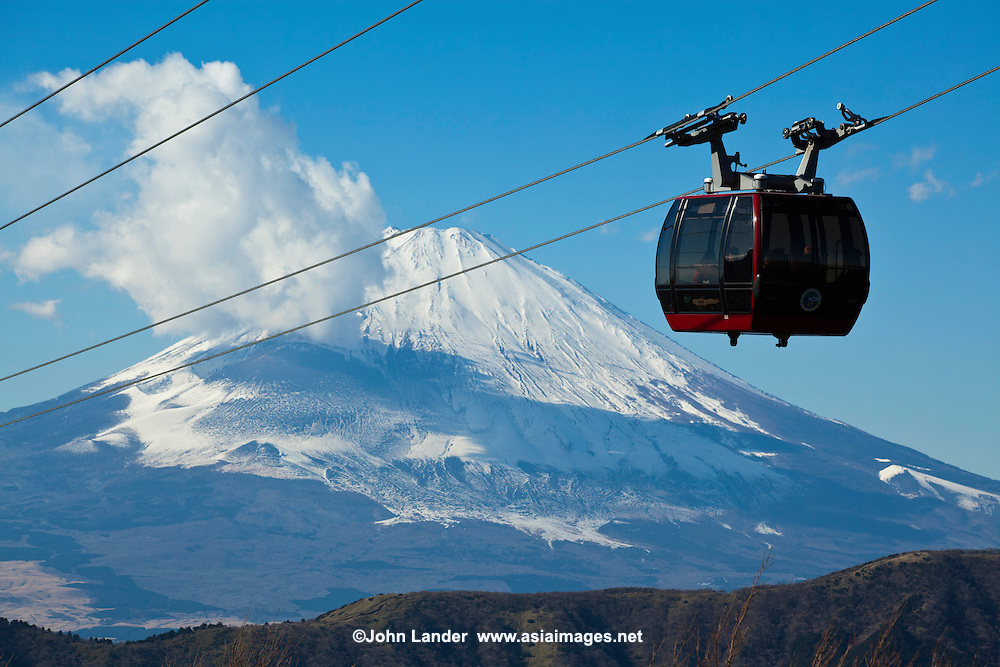 """Hakone Ropeway operates at one-minute intervals between """"gondolas"""" and the 30 minute journey from Sounzan Station to Togendai Station on the shore of Lake Ashi allows visitors to take in such views as the crystal-clear blue waters of Lake Ashi, the rising volcanic fumes of Owakudani and Mount Fuji on a clear day."""