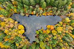 Pitlochry, Scotland, UK. 24th October 2021. Autumnal colours on trees surrounding Loch Dunmore near Pitlochry as seen from a drone. The forests and woods of Perthshire are ablaze with autumn colours at the moment.  Iain Masterton/Alamy Live News.