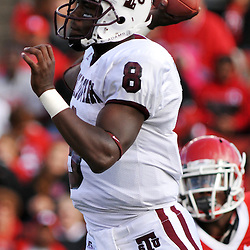 Oct 10, 2009; Piscataway, NJ, USA; Texas Southern quarterback Arvell Nelson (8) makes a pass during first half NCAA college football action between Rutgers and Texas Southern at Rutgers Stadium.