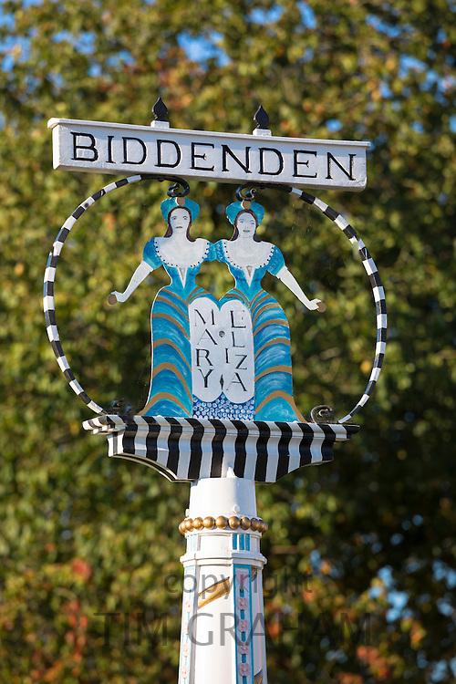 Village sign at Biddenden in Kent, England, UK