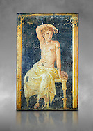 Detail of the Roman fresco wall painting of a young man resting from the  triclinium,  a formal dining room, of the Villa Arriana (Adriana), Stabiae (Stabia) near Pompeii , inv 9093, Naples National Archaeological Museum, grey art background .<br /> <br /> If you prefer to buy from our ALAMY PHOTO LIBRARY  Collection visit : https://www.alamy.com/portfolio/paul-williams-funkystock - Scroll down and type - Roman Fresco Naples  - into LOWER search box. {TIP - Refine search by adding a background colour as well}.<br /> <br /> Visit our ROMAN ART & HISTORIC SITES PHOTO COLLECTIONS for more photos to download or buy as wall art prints https://funkystock.photoshelter.com/gallery-collection/The-Romans-Art-Artefacts-Antiquities-Historic-Sites-Pictures-Images/C0000r2uLJJo9_s0