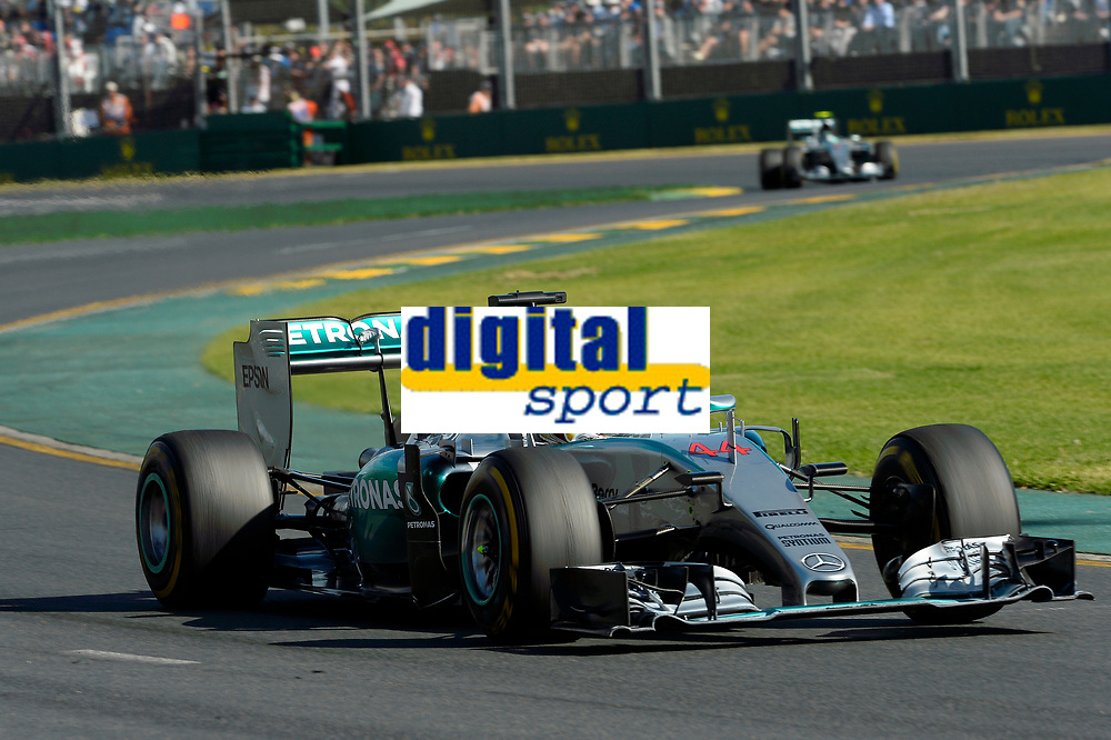 HAMILTON lewis (gbr) mercedes gp mgp w06 action<br /> ROSBERG nico (ger) mercedes gp mgp w06 action during 2015 Formula 1 championship at Melbourne, Australia Grand Prix, from March 13th to 15th. Photo DPPI / Eric Vargiolu.