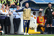Neil Harris, the Millwall manager shouting  from the touchline. EFL Skybet football league one match, Millwall v Bradford city at The Den in London on Saturday 3rd September 2016.<br /> pic by John Patrick Fletcher, Andrew Orchard sports photography.