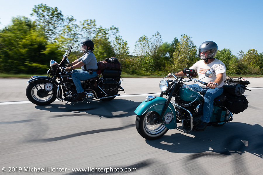 Joe Ferri riding his teal 1947 Indian Chief beside his friend Willie Earhart on his 1948 Harley-Davidson Panhead in the Cross Country Chase motorcycle endurance run from Sault Sainte Marie, MI to Key West, FL (for vintage bikes from 1930-1948). Stage 4 saw a 315 mile ride from Urbana, IL to Bowling Green, KY USA. Monday, September 9, 2019. Photography ©2019 Michael Lichter.