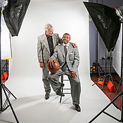 George Shinn former owner of the Charlotte Hornets wit Muggsy Bogues the shortest player to ever play in the NBA.