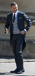 © Licensed to London News Pictures. 19/05/2018. London, UK.  DAVID BECKHAM attends the wedding of Prince Harry, The Duke of Sussex and Meghan Markle, The Duchess of Sussex at St George's Chapel in Windsor Castle . Photo credit: LNP