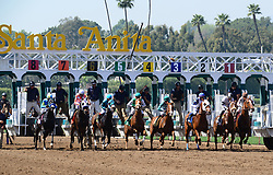 March 29, 2018 - Arcadia, California, USA - Horse Racing - Horses leave the gate during a race on the dirt at Santa Anita Race Track, Arcadia, California, USA, March 29, 2018...Credit Image cr  Scott Mitchell/ZUMA Press (Credit Image: © Scott Mitchell via ZUMA Wire)