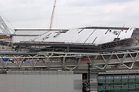 Photo: Daniel Hambury.<br />Wembley Stadium. 14/06/2006.<br />A detail showing part of the sliding roof of the new home of English football, Wembley, seen from the roof of the nearby Ibis hotel.