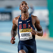 Trell Kimmons of the US competes in heat 6 during the men's 60m qualifications the IAAF World Indoor Championships at the Atakoy Athletics Arena, Istanbul, Turkey. Photo by TURKPIX