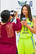 Aerial Powers, a rookie with the Dallas Wings, visits with the media during the team media day in Arlington, Texas on May 5, 2016.  (Cooper Neill for The New York Times)