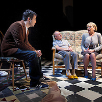 Picture Shows  John Ramage and Barbara Rafferty (both seated) recounting their story  about an incident  about The Barrowland Dance Hall to Joe McFadden, who plays the young Scottish journalist.<br /> <br /> <br /> The Missing<br /> <br /> Adapted by Andrew O'Hagan from his book The Missing. Directed by John Tiffany.  National Theatre of Scotland<br /> <br /> © Picture Drew Farrell Tel : 07721-735041<br /> <br /> The Tramway, Glasgow. Thursday  15th September to October 1st October<br /> <br /> <br /> There are all sorts of missing. The world is full of missing persons, and their numbers increase all the time. The space they occupy lies somewhere between what we know about the ways of being alive and what we hear about the ways of being dead. They wander there, unaccompanied and unknowable, like shadows of people.In 1994, a young Scottish writer finds himself standing outside 25 Cromwell Street, Gloucester, feeling that the media circus engulfing this now notorious address has overlooked the most important story. Who were these murdered women and why were most of them never reported missing? Compelled and troubled by this experience, he begins a pilgrimage that takes him from the south of England back to the bygone Glasgow of the late 1960s and from there out to Irvine and the haunting disappearance of a young boy in his childhood. The new towns promised so much to so many. A fresh start and a different life away from the darkness and danger of the old city, all tied up with a corporation red ribbon round bath taps that had never before been used.Reuniting director John Tiffany (Black Watch) with author Andrew O'Hagan (Be Near Me) The Missing is a series of gripping encounters that retraces and reanimates the final journeys of sons, daughters, sisters and childhood friends; the missing.<br /> <br /> Cast includes: Brigit Forsyth, Joe McFadden, Myra McFadyen, Brian Pettifer, Barbara Rafferty and John Ramage.