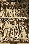 Tympanum of central west portal: Scenes from the Day of Judgement. Gothic Cathedral of Notre-Dame, Amiens, France . The Cathedral Basilica of Our Lady of Amiens or simply Amiens Cathedral, is a Roman Catholic  cathedral the seat of the Bishop of Amiens. It is situated on a slight ridge overlooking the River Somme in Amiens. Amiens Cathedral, was built almost entirely between 1220 and c.1270, a remarkably short period of time for a Gothic cathedral, giving it an unusual unity of style. Amiens is a classic example of the High Gothic style of Gothic architecture. It also has some features of the later Rayonnant style in the enlarged high windows of the choir, added in the mid-1250s. Amiens Cathedra has been listed as a UNESCO World Heritage Site since 1981. Photos can be downloaded as Royalty Free photos or bought as photo art prints. <br /> <br /> Visit our MEDIEVAL PHOTO COLLECTIONS for more   photos  to download or buy as prints https://funkystock.photoshelter.com/gallery-collection/Medieval-Middle-Ages-Historic-Places-Arcaeological-Sites-Pictures-Images-of/C0000B5ZA54_WD0s