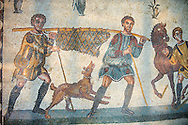 Hunters carrying a dead wild boar. Roman mosaic floor of the Room of The Small Hunt, no 25 - Roman mosaics at the Villa Romana del Casale , circa the first quarter of the 4th century AD. Sicily, Italy. A UNESCO World Heritage Site. .<br /> <br /> If you prefer to buy from our ALAMY PHOTO LIBRARY Collection visit : https://www.alamy.com/portfolio/paul-williams-funkystock/villaromanadelcasale.html<br /> Visit our ROMAN MOSAICS PHOTO COLLECTIONS for more photos to buy as buy as wall art prints https://funkystock.photoshelter.com/gallery/Roman-Mosaics-Roman-Mosaic-Pictures-Photos-and-Images-Fotos/G00008dLtP71H_yc/C0000q_tZnliJD08