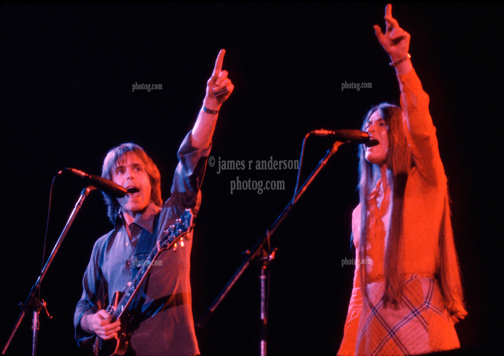Bob Weir and Donna Jean Gaudchaux with The Grateful Dead. Huntington Civic Center, West Virginia. During Aiko Aiko 16 April 1978