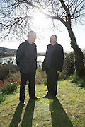 28/03/2016  Great Grand Nephews of Patrick Pears Fearghas Mac Lochlainn and his brother Eoin Mac Lochlainn at Pearse's Cottage, Teach an Phiarsaigh, in Rosmuc in Connemara during a special broadcast of RTÉ Raidió na Gaeltachta programme Adhmhaidin on Easter Monday 28 March 2016.  <br /> <br /> Patrick Pearse used the cottage as a summer house, and also as summer school for his pupils from St Enda's school in Dublin.  He was inspired by the people and the culture of the area, and it is said that he composed the graveside oration he gave at O'Donovan Rossa's funeral in 1915 there.<br /> <br /> The broadcast was to commemorate the centenary of the Easter Rising, and also marked 30 years on air for the programme.  <br /> Photo:Andrew Downes, xposure.