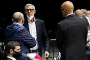 Vitucci Francesco Marino Fernando<br /> UnaHotels Reggio Emilia Happy Casa Brindisi<br /> Legabasket Serie A UnipolSAI 2020/2021<br /> Bologna, 11/10/2020<br /> Foto A.Giberti / Ciamillo-Castoria