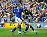 Photo: Tony Oudot/Richard Lane Photography. Leicester City v Derby County. Coca Cola Championship. 17/10/2009<br /> Matty Fryatt of Leicester City is challenged by Fredrik Stoor of Derby.