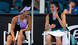 January 17, 2019 - Melbourne, AUSTRALIA - Monica Puig of Puerto Rico & Andrea Petkovic of Germany playing doubles at the 2019 Australian Open Grand Slam tennis tournament (Credit Image: © AFP7 via ZUMA Wire)