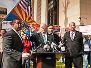 """23 JANUARY 2012 - PHOENIX, AZ:     Speaker of the House, Andy Tobin (CQ CENTER) talks about the Arizona House investigation of """"Fast and Furious"""" at the State Capitol Monday, Jan 23. Both sides of the immigration debate congregated on the capitol grounds to protest against and in favor of SB 1070 and other anti immigration bills. At the same time people were protesting, legislators from both sides of the issue held press conferences.  PHOTO BY JACK KURTZ"""