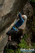 Sport climbing up American Fork Canyon, Utah.