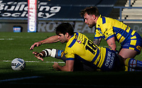 Warrington Wolves' Jake Mamo and Blake Austin grapple with Catalans Dragons' Samisoni Langi <br /> <br /> Photographer Alex Dodd/CameraSport<br /> <br /> Rugby League - Betfred Challenge Cup Quarter Finals - Catalans Dragons v Warrington Wolves - Friday 7th May 2021 - Emerald Headingley Stadium - Leeds<br /> <br /> World Copyright © 2021 CameraSport. All rights reserved. 43 Linden Ave. Countesthorpe. Leicester. England. LE8 5PG - Tel: +44 (0 116 277 4147 - admin@camerasport.com - www.camerasport.com