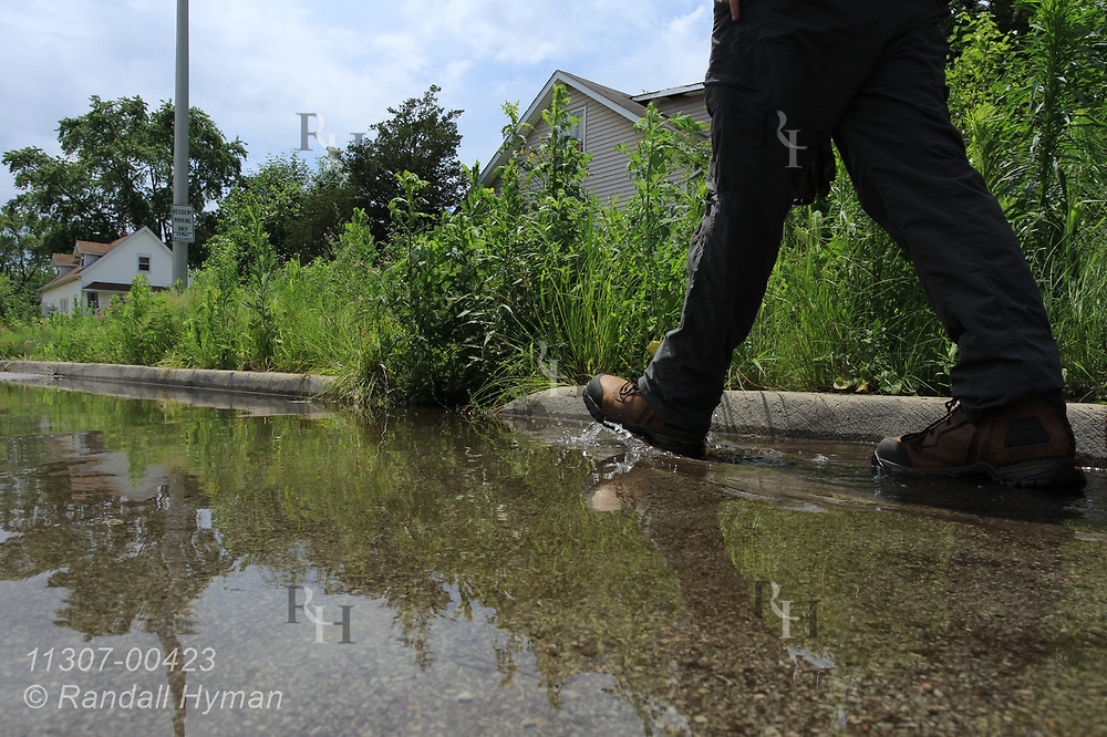 Cardno Field Manager Jim McAley walks through stormwater in Chicago South Side street beside rain garden designed to reduce runoff into Lake Michigan; Blue Island, Illinois.