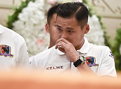 BEIJING, June 13, 2017  Soccer player Jin Hui of Beijing Enterprises attends the funeral of Cheick Tiote at the Babaoshan funeral center in Beijing, capital of China, June 13, 2017. Cheick Tiote died in hospital after fainting at the Beijing Enterprises club's training ground on June 5, 2017. (Credit Image: © Xia Yifang/Xinhua via ZUMA Wire)