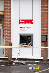 © Licensed to London News Pictures. 13/10/2014. Bristol, UK. Scene of cashpoint robbery at the HSBC branch on Bath Road, Brislington.  Thieves used gas canisters to blow up the cash machine. Photo credit : Simon Chapman/LNP