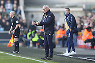 Claudio Ranieri, the Leicester City manager giving the thumbs up to his  players during the 1st half. The Emirates FA Cup 5th round match, Millwall v Leicester City at The Den in London on Saturday 18th February 2017.<br /> pic by John Patrick Fletcher, Andrew Orchard sports photography.