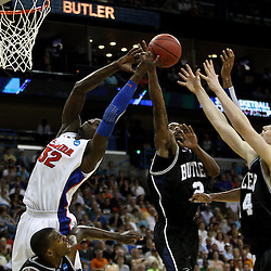 Mar 26, 2011; New Orleans, LA;  Florida Gators center Vernon Macklin (32), Butler Bulldogs guard Shawn Vanzant (2) and center Andrew Smith (44) battle for a rebound during the second half of the semifinals of the southeast regional of the 2011 NCAA men's basketball tournament at New Orleans Arena.   Mandatory Credit: Derick E. Hingle