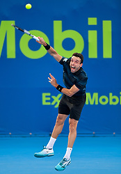 Roberto Bautista Agut of Spain serves to Matteo.Berrettini of Italy during their first round of ATP Qatar Open Tennis match at the Khalifa International Te?nnis Complex in Doha, capital of Qatar, on December 31, 2018.Bautista Agut  won 2-0  (Credit Image: © Yangyuanyong/Xinhua via ZUMA Wire)